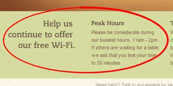Free Wi-Fi at Panera bread