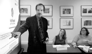 Jonathan Lehrer conducts a workshop on Web design for the Community Media Workshop