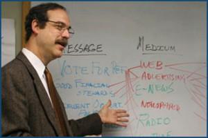 Jonathan Lehrer leads a public relations training workshop.