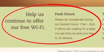 Free Wi-Fi at Panera bread